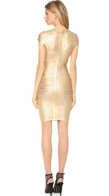 Herve Leger Gold Cap Sleeve V Neck Bandage Dress